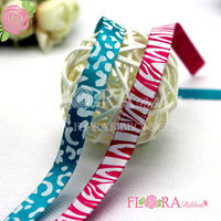 Lepoard printed satin ribbon
