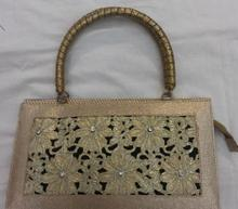 Handbag rectangle brocade floral GOTA work