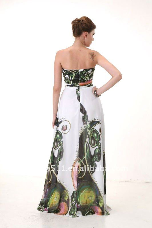 latest style fashion top quality Beading Strapless printing chiffon prom dress AS099