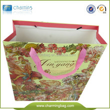 Hot sale kraft shopping paper bag gift paper bag with ribbon handle