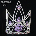 Purple Rhinestone Beauty Queen Crown For Wholesale