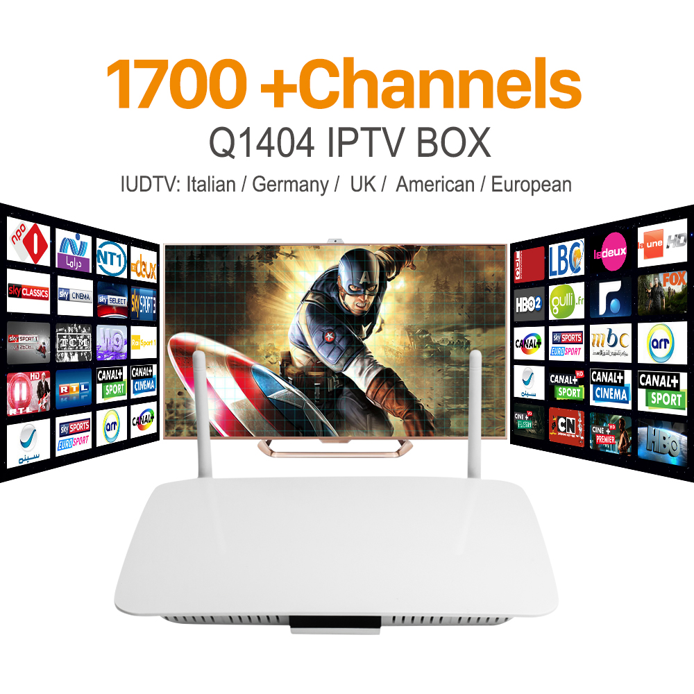 Q1404 1+8GB 8Core Android TV receiver with12 months IUDTV code including French Italian channels