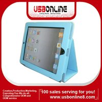 Hot Color Blue Protective Leather Case Cover with Stand for iPad 2/3