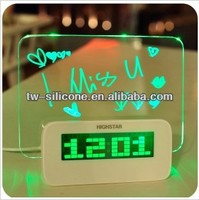 Novelty Color Lcd alram clock LED Fluorescent MessageBoard Digital Alarm transparent lcd clock
