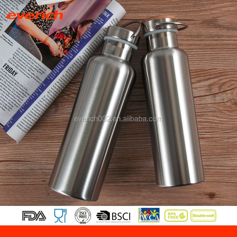 18/8 Stainless Steel Vacuum Insulated Sports Bottle with Bamboo Lid