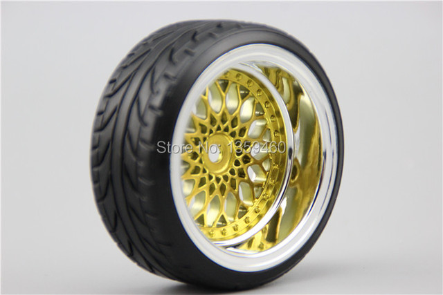 4pcs RC Hard Pattern Drift Tires Tyre Wheel Rim Y12CG 3/6/9mm offset (Chrome+Painting Gold) fits for 1:10 Drift Car