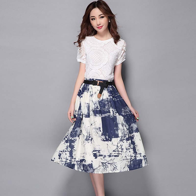 WA1745 plus size lace blouse skirts cotton two-piece suit fashion printed skirts