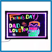 Factory direct slim aluminium alloy frame black writing wall menu board light up boards for restaurant menu