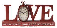 Classic MDF Wood Mantle Clock with love design and customized words