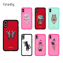 Ctunes moda 2018 móviles para iPhone mutural bordado funda protectora híbrida para iPhone X