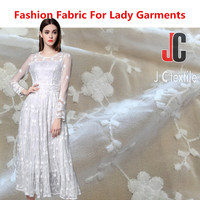JC2987 wholesale 100% polyester ity fashion design embroidered chiffon fabric