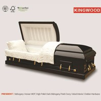 PRESIDENT Mahogany veneer casket coffin for the dead cheap price coffin
