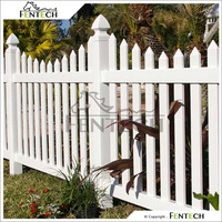 "Fentech White Decorative Plastic Garden Fence with 5"" Fence Post and Flat Fence Post Cap"