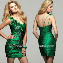 Gemstone Green One Shoulder Column Mini Short Feather Sequin Cocktail Dress