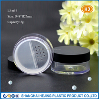 5g empty matte black loose powder container with rotating sifter