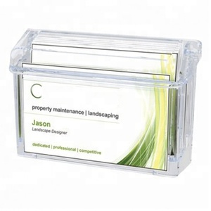 Clear Acrylic Outdoor Business Card Holder With Hinged Lid for Exterior Use