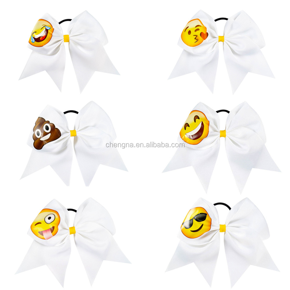 Hot Selling Large Emoji 7.5 inch Cheer Bow Tie HBW-1608132-6