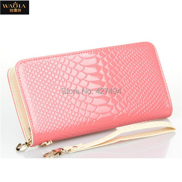 New 2015 European And American Style Women Wallet Fashion High Quanlity PU Leather Alligator Zipper Natural Color Day Clutches