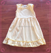 So beautiful cheap baby clothes children frocks designs wholesale summer boutique clothing plain cream ruffle cotton dress