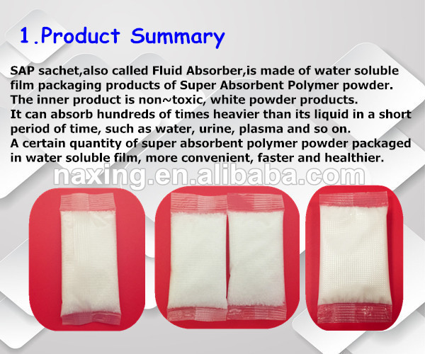 SAP Fluid Absorber pouchs for urine bags and vomit bags