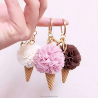 New ice cream flower car key chain Korean creative gift flower bag pendant charms