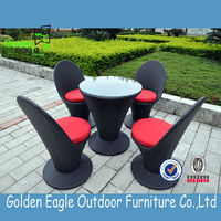 Rattan patio aluminum PE rattan coffee table and chairs for garden