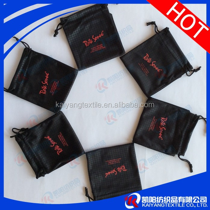 manufactured black microfiber eyeglass pouch emboss printing use promotion gitf