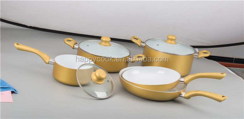 Gold beautiful ceramic alu.cookware