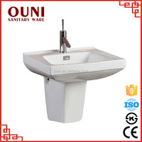 ON-138 Snow white low price ceramic easy clean half pedestal cheap bathroom basin