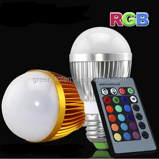 Hot Sale gold& silver 16 Color Changing E27 RGB LED Bulb with Remote Control AC85-265