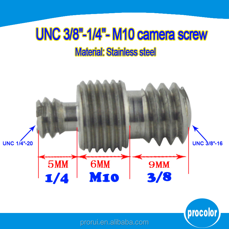 High quality camera <strong>screw</strong> finish stainless steel camera <strong>screw</strong> UNC 1/4 inch to <strong>M10</strong> to 3/8 inch