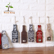 Creative Home Accessories Vintage Wooden Beer Multi-Purpose Beer Bar Wall Mount Bottle Opener