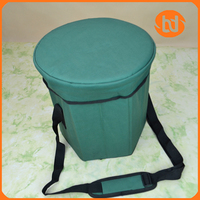 Stool shape cooler bag with six panels ice bag single shoulder cooler bag