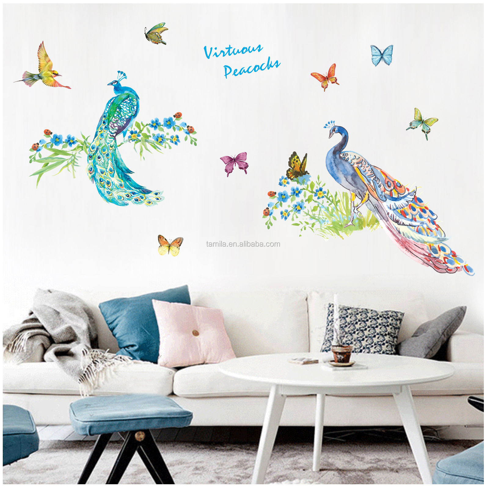 Happy Peacock personality PVC wall sticker Waterproof removable wall stickers entrance study Office decoration wall sticker