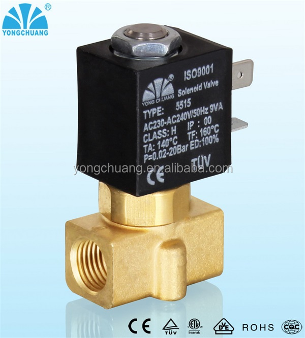 YONGCHUANG YCG22 CE approved normally open Direct acting 3way brass mini solenoid valve for water air gas