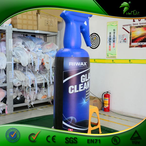 Inflatable Advertising Bottle Glass Cleaner Model Blue PVC Inflatable Helium Bottle Balloon