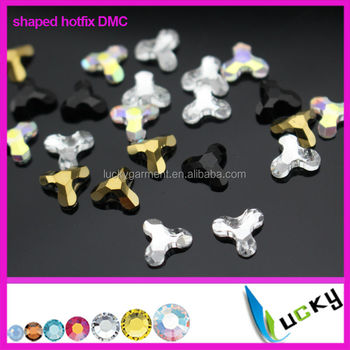 2014 new design shaped rhinestones hotfix dmc with strong glue