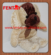 Stuffed brown flower embossed dog with multifunctional toy