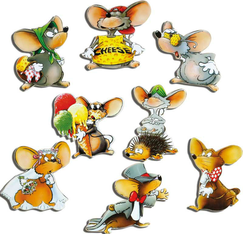 "Set of 8 motif magnets ""mice"""