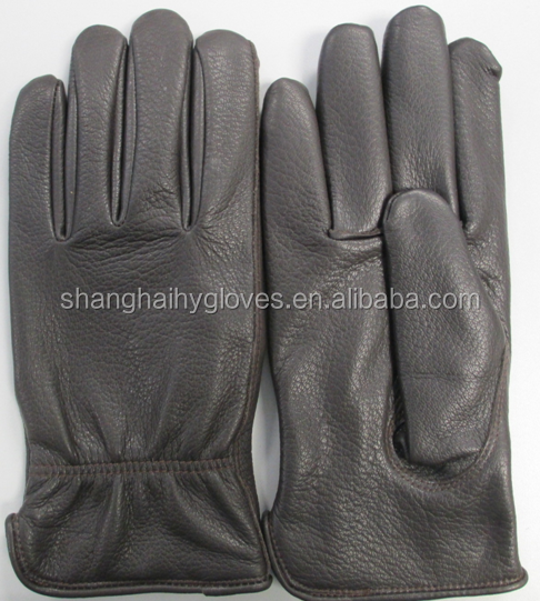 Brown Deerskin Driving/Dressing Glove with Polar Fleece Lined [Inventory Available] - 9224P