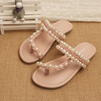 T02-G04 fashion flat shoes girls platform sandals pearls home children slippers