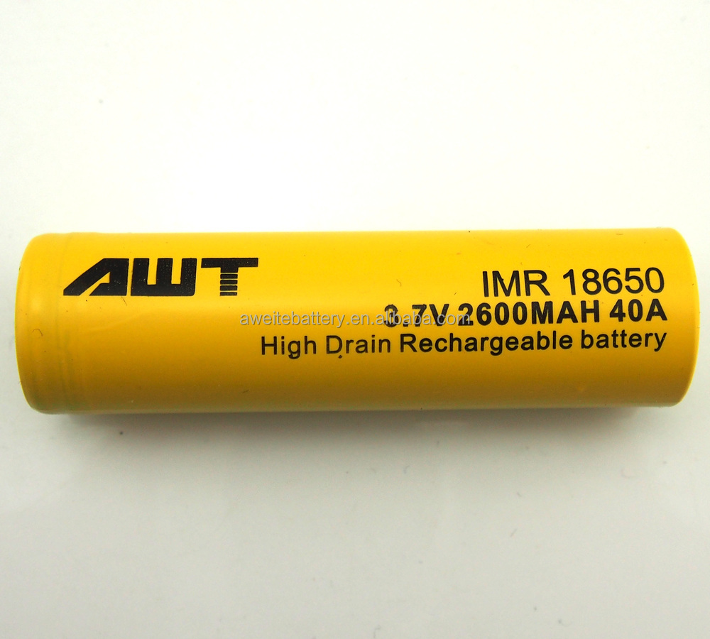 High drain AWT 18650 battery 18650 2600Ah 40A lithium battery for ecig battery