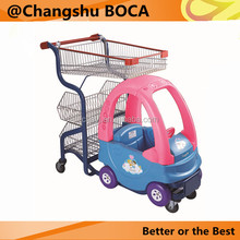 Colourful kids shopping supermarket trolley cart