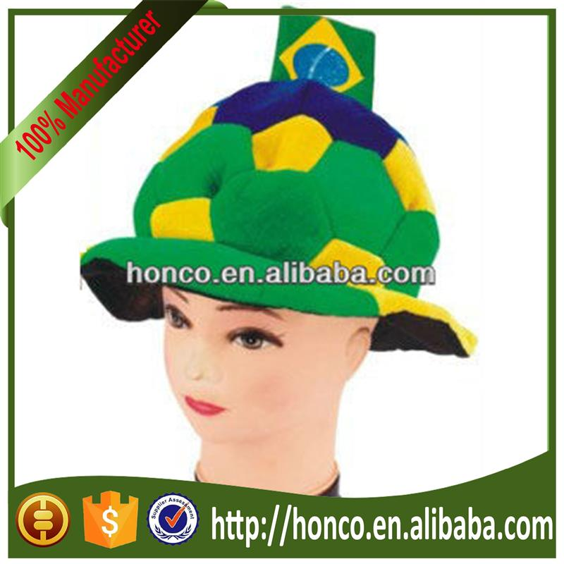 football fans 2014 world cup fashion hat/Dense velvet football fans cap/hat for 2014 Brasil World Cup Brazil