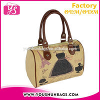 French Style Jute Linen Tote Handbag Fashion Women Cheap Design Tote Bag