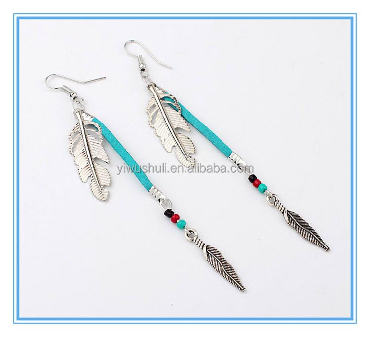 European and American fashion jewelry wholesale Yiwu retro personality leaves Feather Earrings beads leather rope alloy Earrings