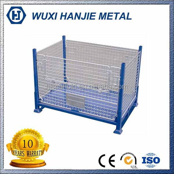 Welded steel mesh storage box metal foldable pallet container