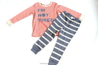 chlidren's' clothing orange strip polo t-shirt black strip pant baby set clothing