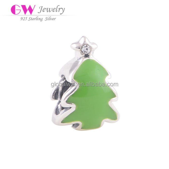 Wholesale women diy charms jewelry christmas tree of life charms enamel 925 silver charms