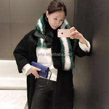 YR151 Top Quality Unique Design Latest Fox Fur Contrast Color Shawl Scarf